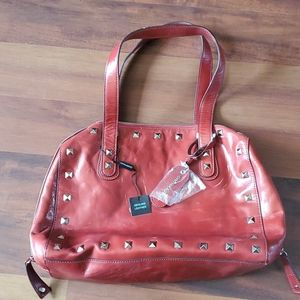 Cynthia Rowley Red Studded Leather Bag